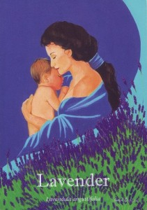 Mother holding a baby surrounded by lavender